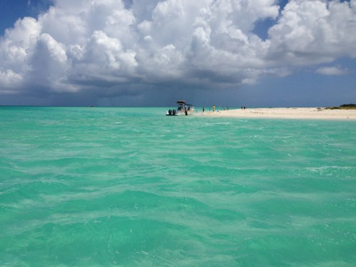 Pulling up to a sandbar to search for sand dollars