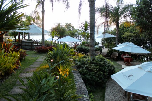 Ponta Dos Ganchos outdoor area.. some days a seafood barbecue is set up here for lunch!