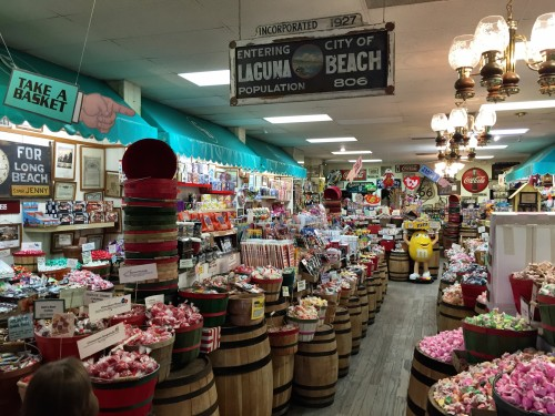 Candy Baron candy store.. tons of saltwater taffy plus vintage and strange candies.. pop rocksm bacon frosting, or chocolate covered scorpions, anyone?!
