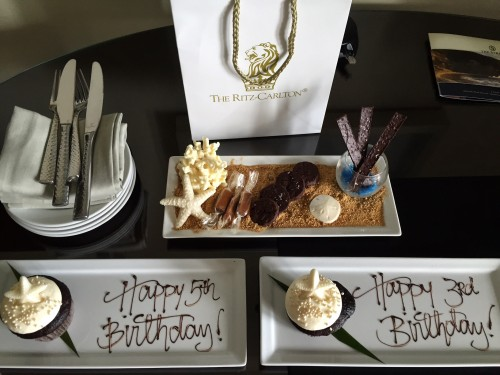 """Incredible desserts.. birthday cupcakes and a treat with graham cracker """"sand"""" and white chocolate """"coral"""".. yum!"""