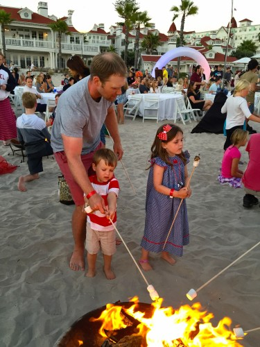 Smores making at the Del's Annual July 4th Beach Bash