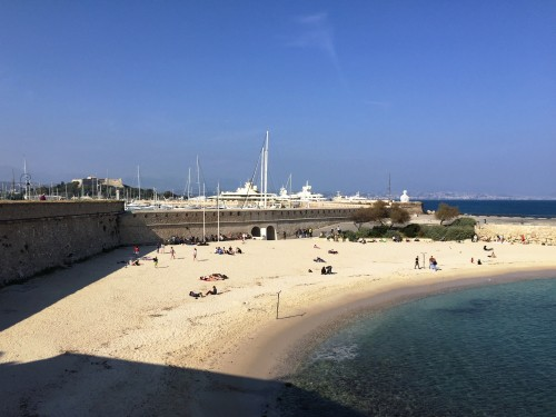 Antibes beach just outside the ramparts