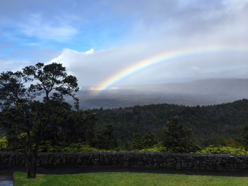 Beautiful rainbow from the caldera as seen from Volcano House