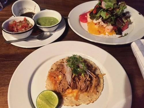 Ollataco dinner- citrus salad and a taco de costilla korobuta - YUM!!