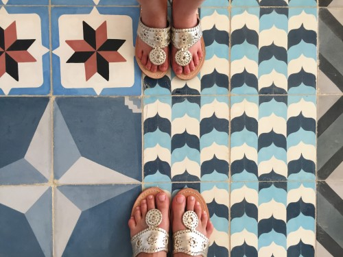 Mexican floor tiles perfect for Instagramming, check! Matching Jack Rogers with my 6 year-old, check check!