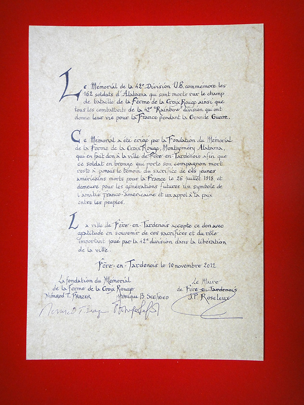 The deed of transfer for the memorial.