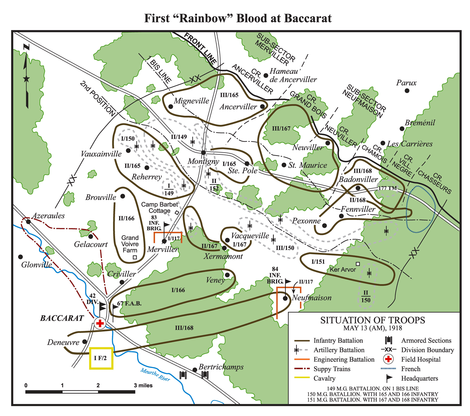 Les premières pertes de la division arc-en-ciel à Baccarat