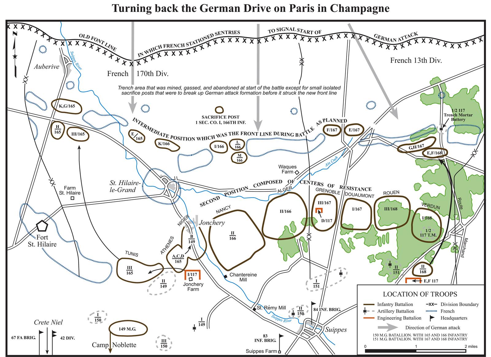 Repoussant l'avancée allemande sur Paris en Champagne
