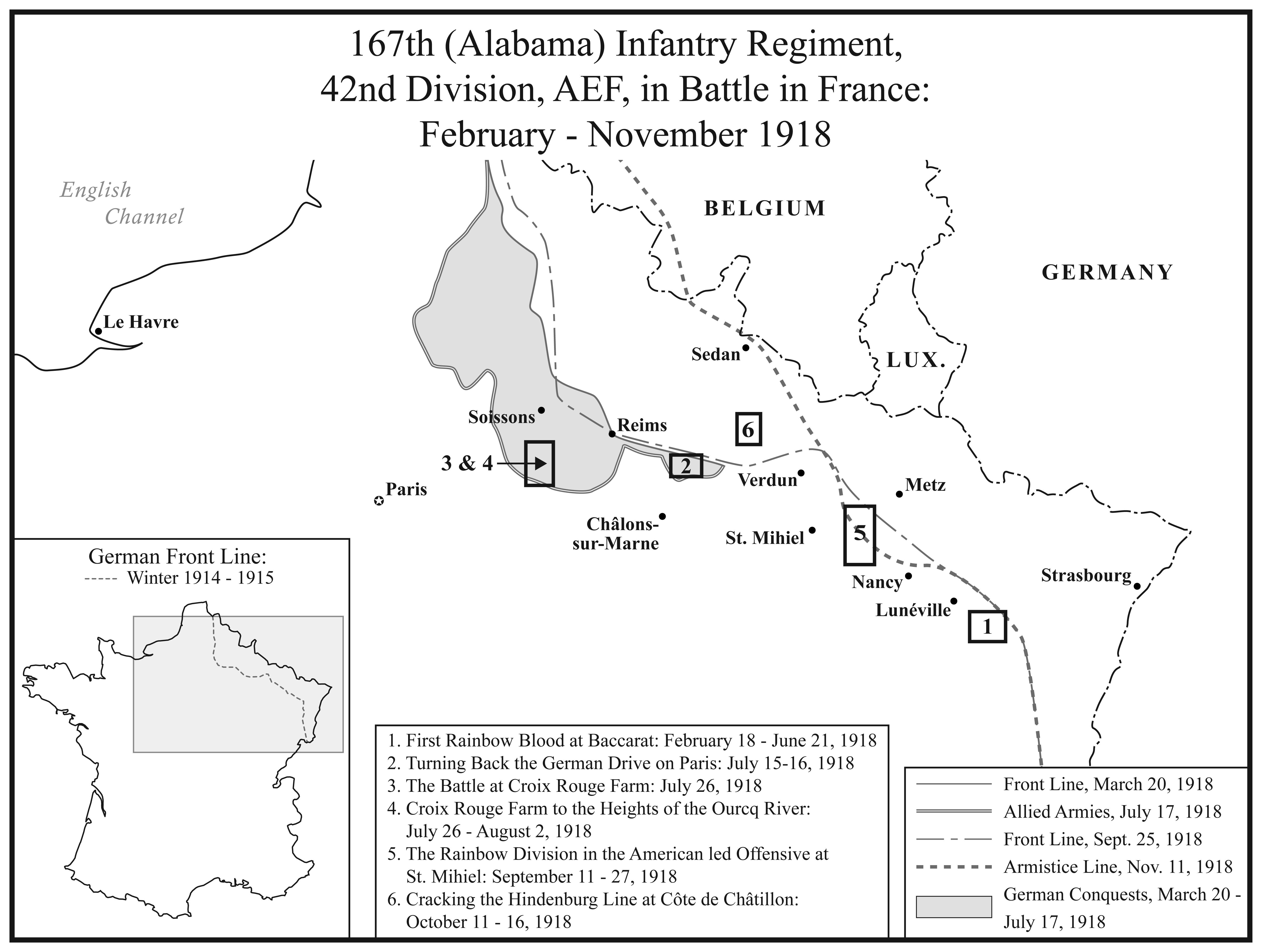 II. 167th Alabama Infantry Regiment in Battle in France.