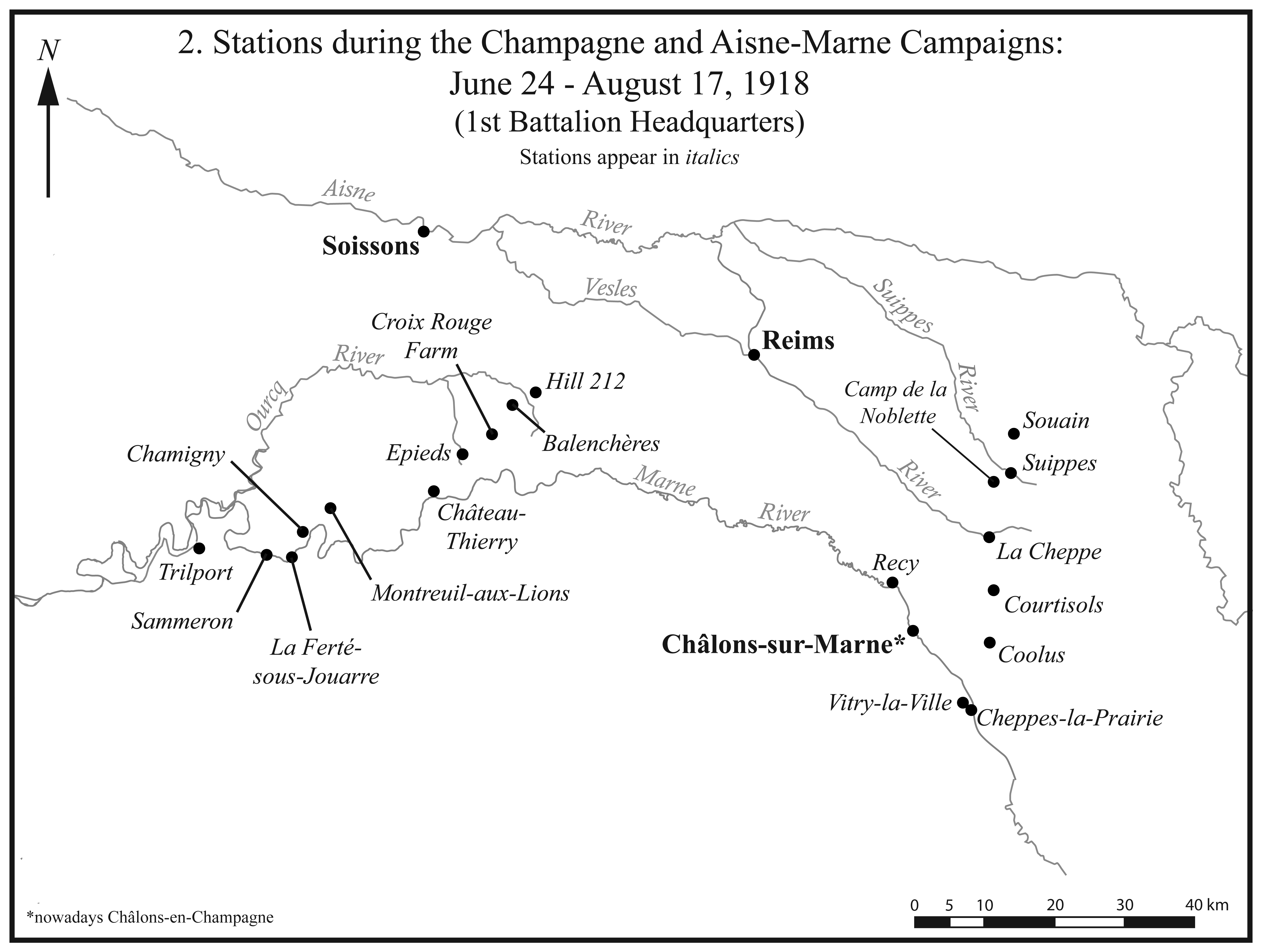 I.2. Stations during the Champagne and Aisne-Marne campaigns.
