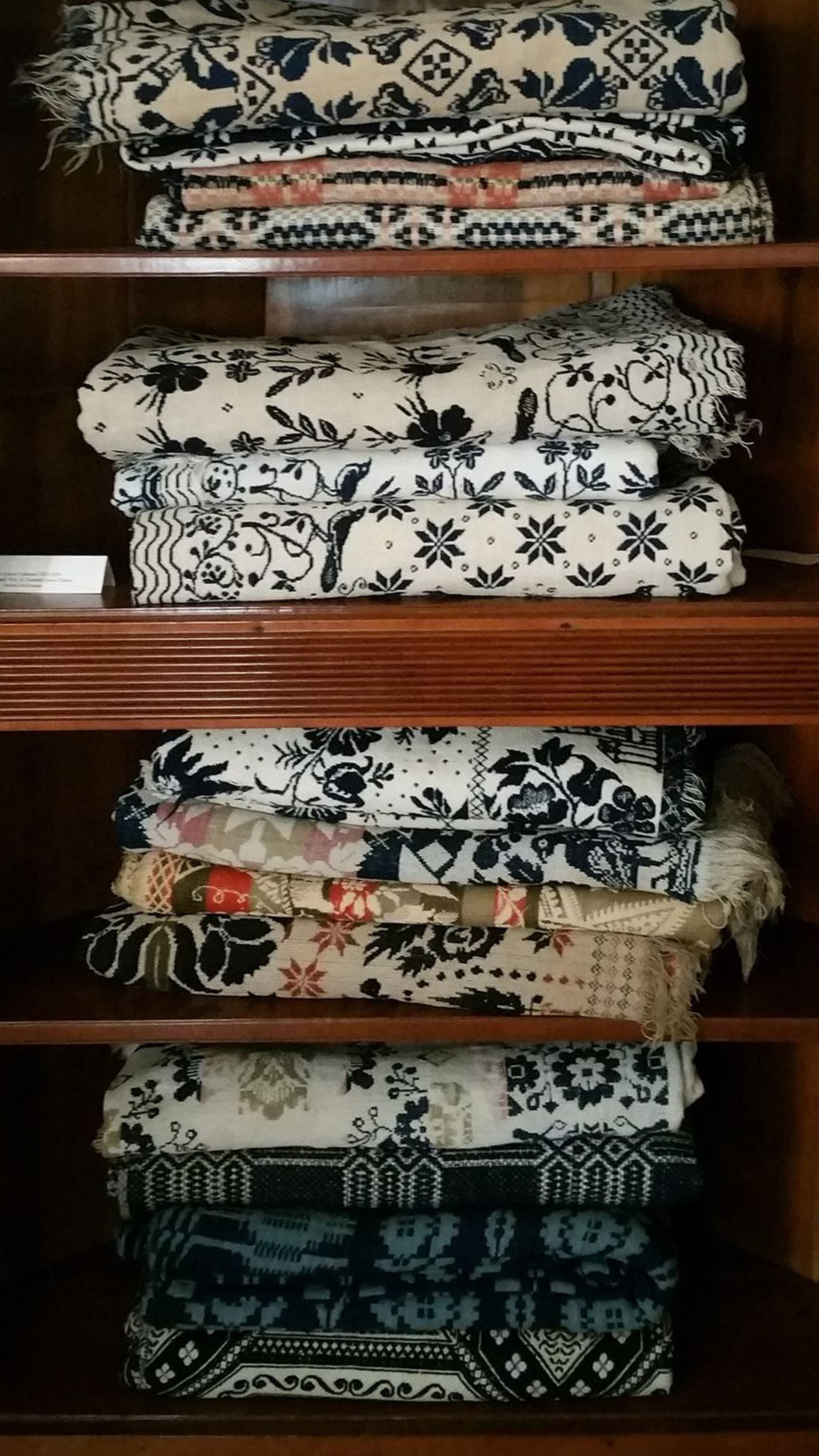 Antique textiles blankets at the Clinton County History Center