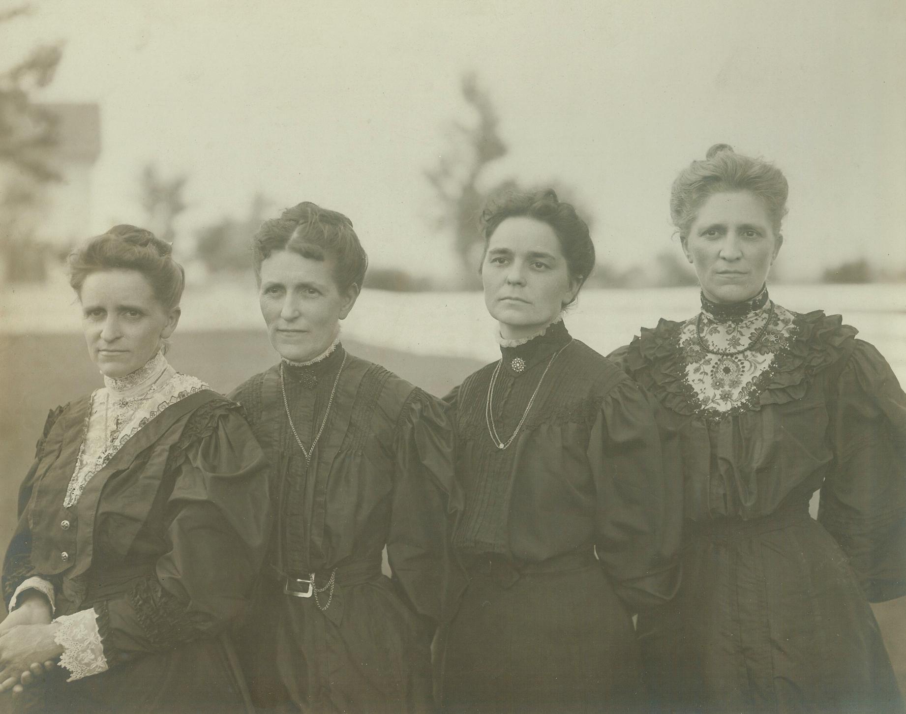 Antique photo of Mary Hains Peterson, Sarepta Hains Short, Hattie Hains Carpenter and Mattie Hains Jefferson