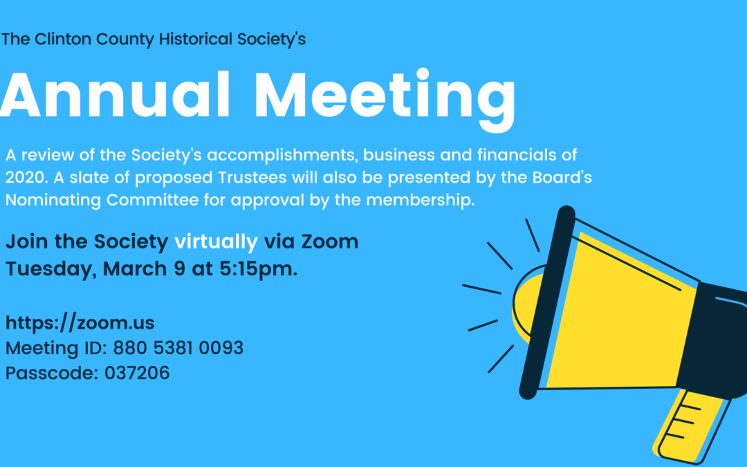 Society's Annual Meeting – March 9, 2021