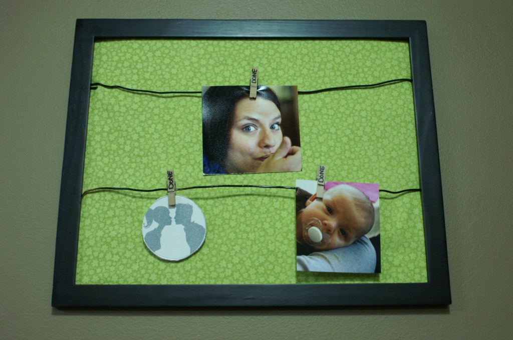 This memory board and photo hanger makes it easier for me to change out my photos and mementos for display.