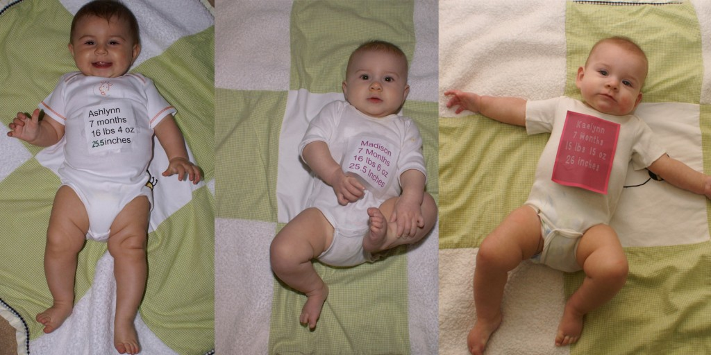 All of my daughters at 7 months
