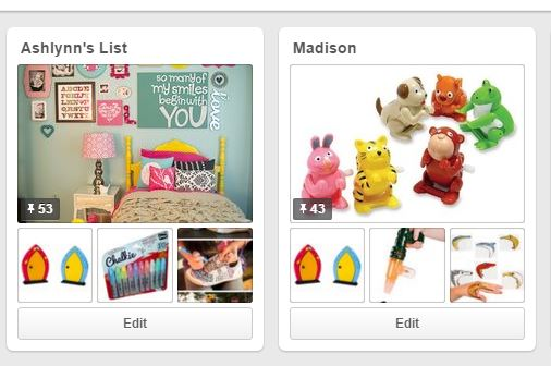 I keep Pinterests lists as gift boards for my kids. I'm happy to share them with my family and friends anytime.