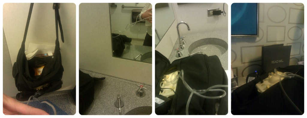 I pumped in a bunch of bathrooms between Detroit's airport and O'Hare in Chicago.
