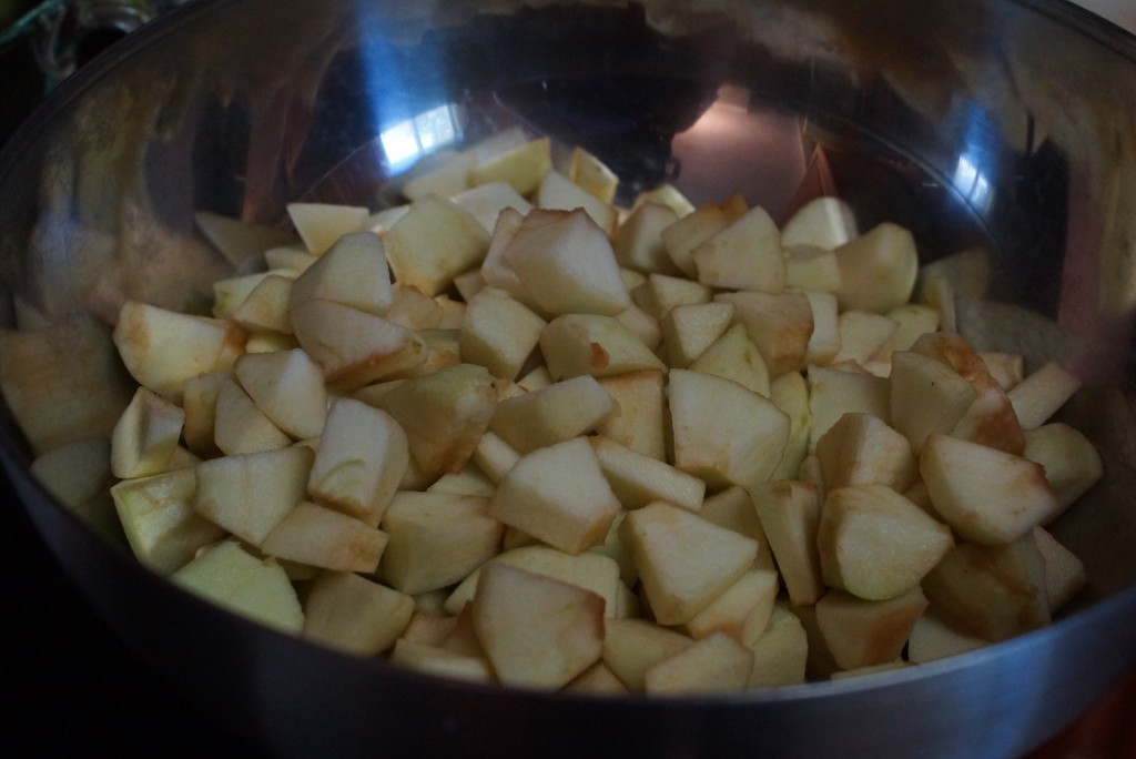 For this recipe, you'll need 9 cups of diced apples.