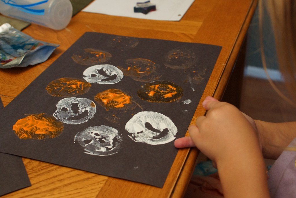 A Halloween project on my Pinterest Board for far too long was potato print-making, which we actually did with an apple as well.