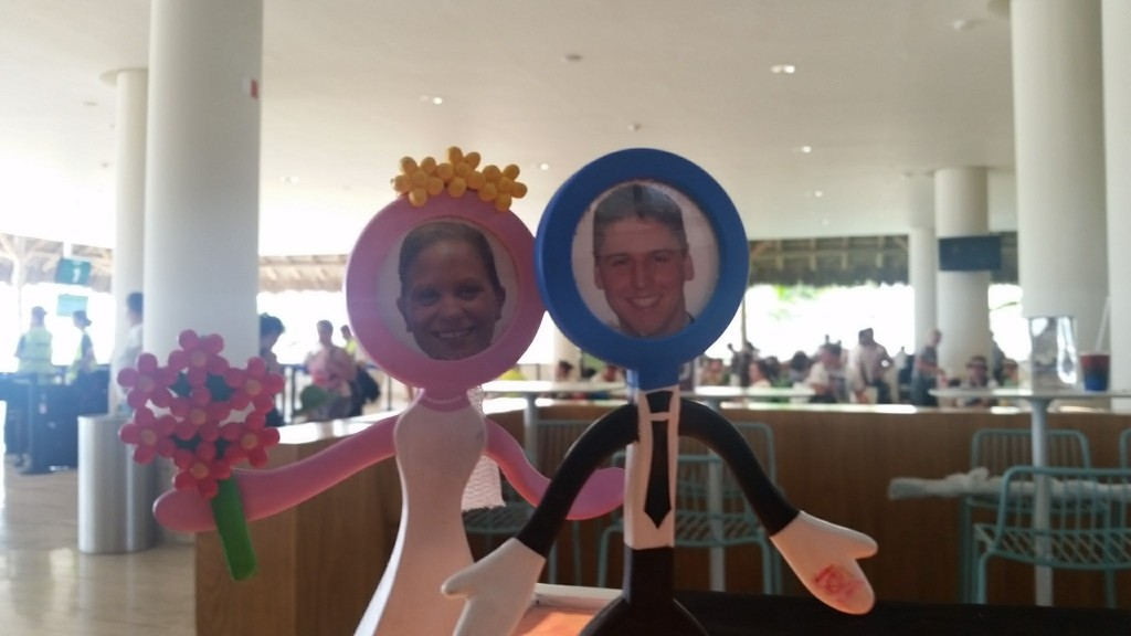 Our cake toppers in the airport in Punta Cana preparing for the flight home.