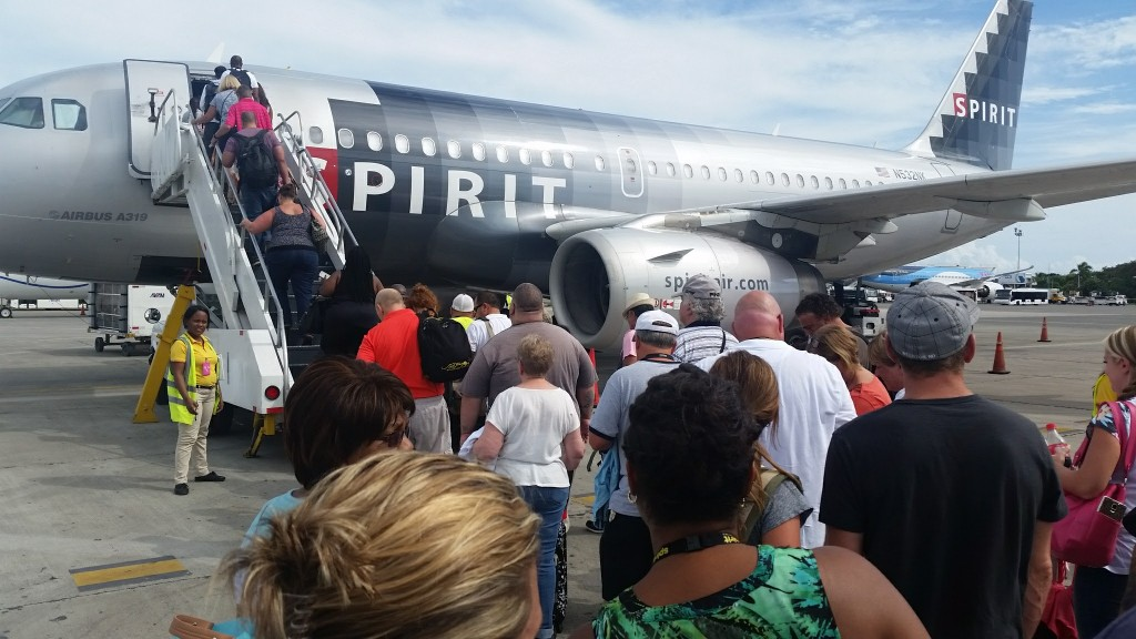 We were bussed out to the plane where we climbed the stairs to get it. It's just the way the Punta Cana airport works.