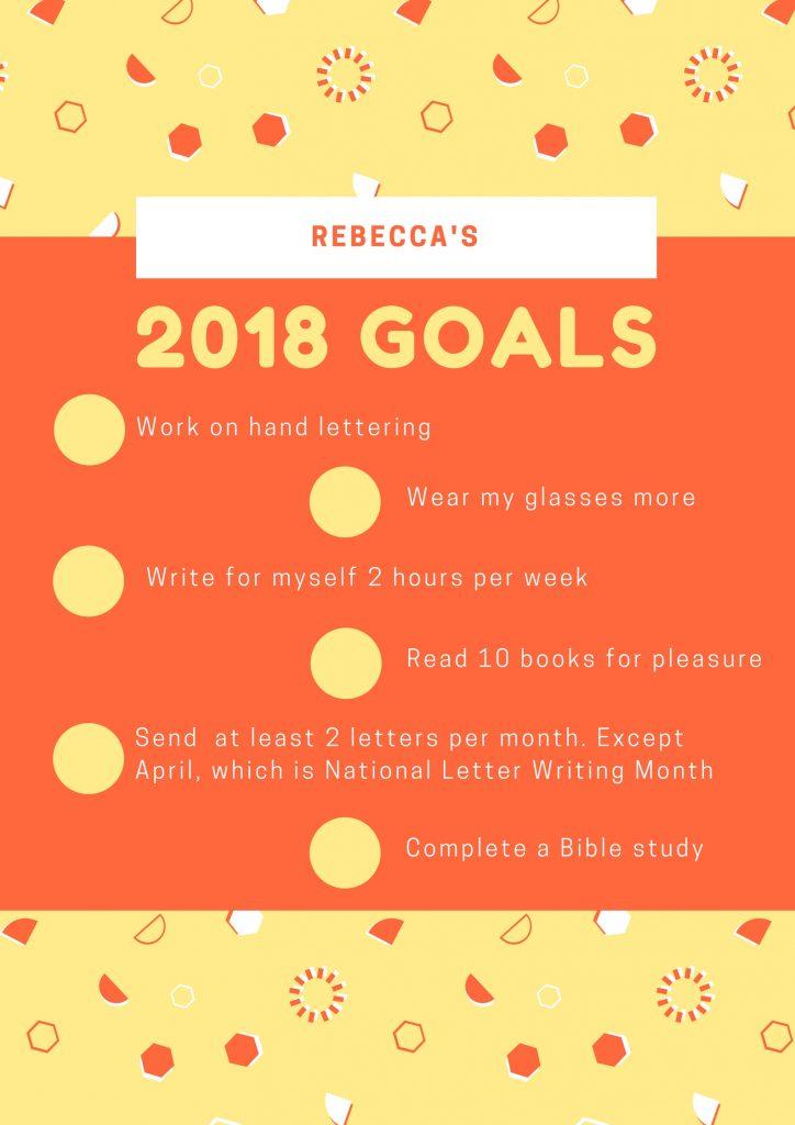 A list of my 2018 goals.