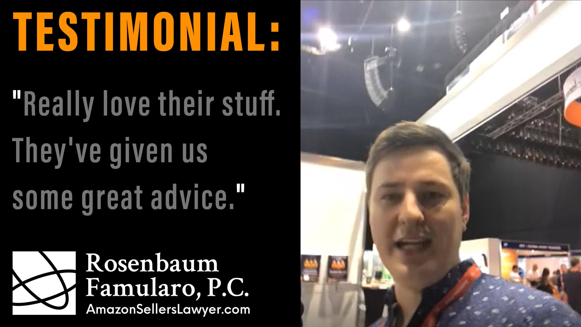 AmazonSellersLawyer testimonials High Recommend CJ Rosenbaum