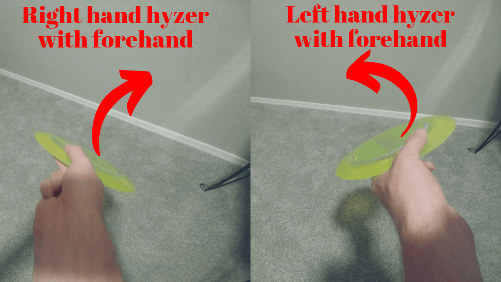 hyzer in disc golf hooks with left and right hand forehand