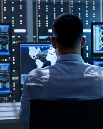 Defense planner overseeing networking on servers