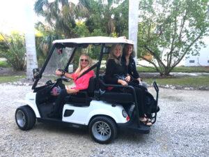 Lisa Newmeyer Cochrane in her street-legal golf cart.