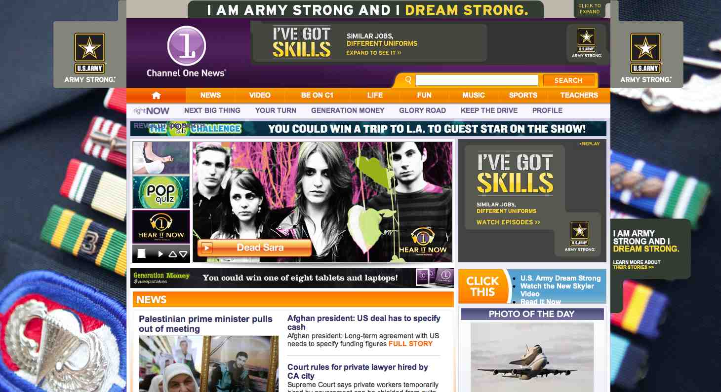 Find the eight Army ads on Channelone.com's home page.