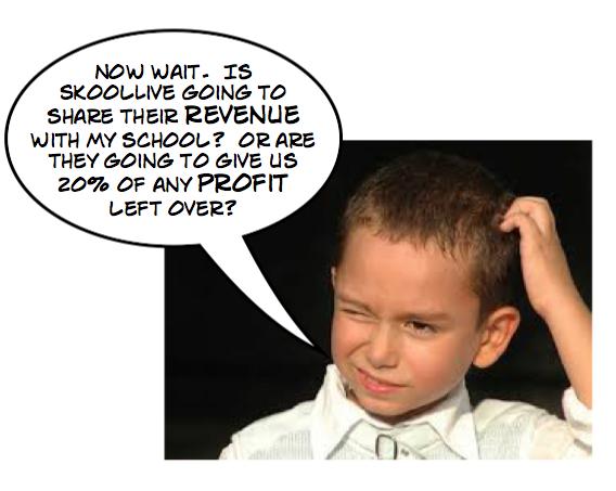 """Revenue sharing""? or ""Profit sharing""?  SkoolLive misleads school boards."