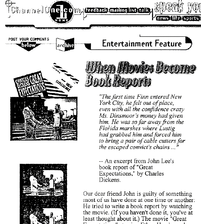 From the archives:  2/13/98  Channel One's Infamous How To Cheat On A Book Report