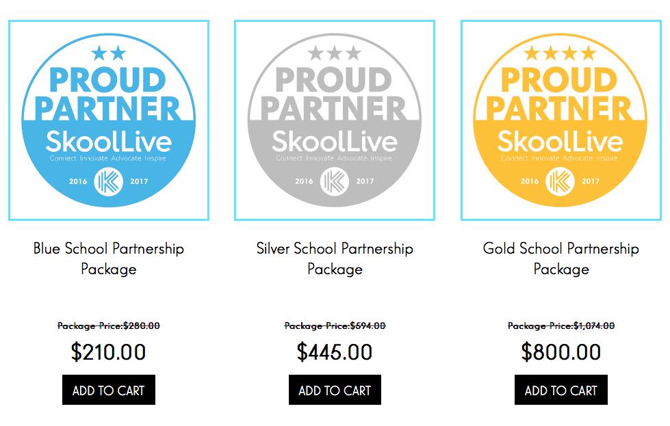 Skoollive discounts ad packages.