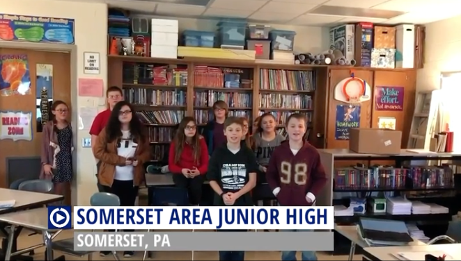 Somerset (PA) students perform for Channel One.