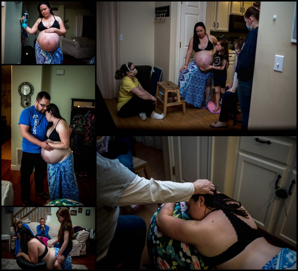 Dani Reed is at the beginning of her labor in the comfort of her own home. She had planned on a hospital birth but because of hospital restrictions due to COVID-19, she chose to have a home birth so her whole birth team could attend. Here she uses a birthing stool, an exercise or labor ball, and a step stool as she works through the contractions.
