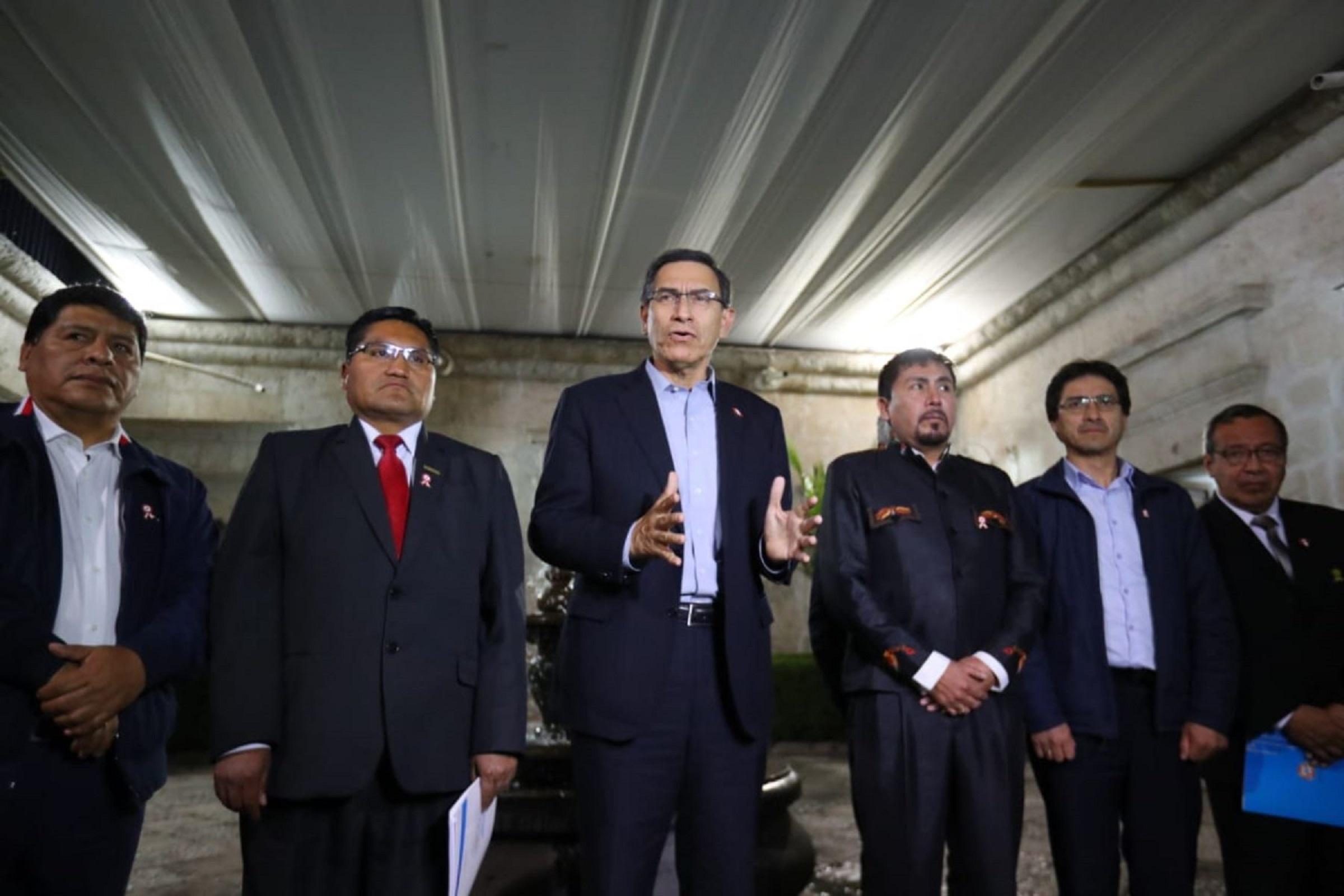 Presidente Vizcarra dice que diálogo con Gobernadores del sur fue positivo
