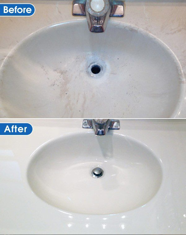 sink refinished vefore and after