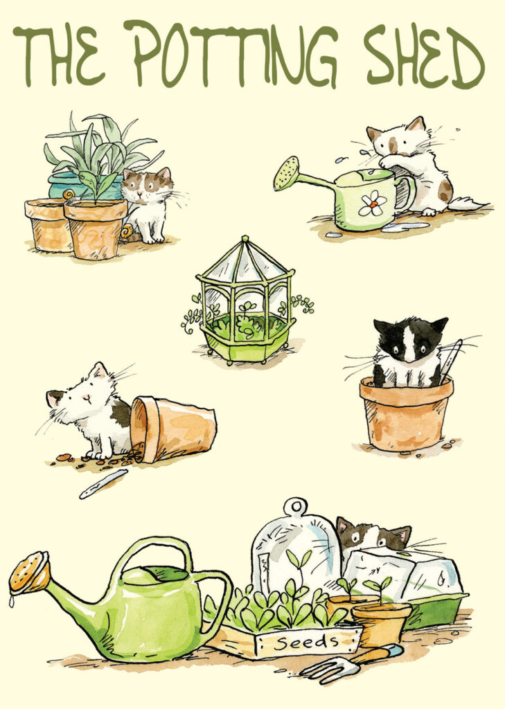 The potting shed card for cat lovers