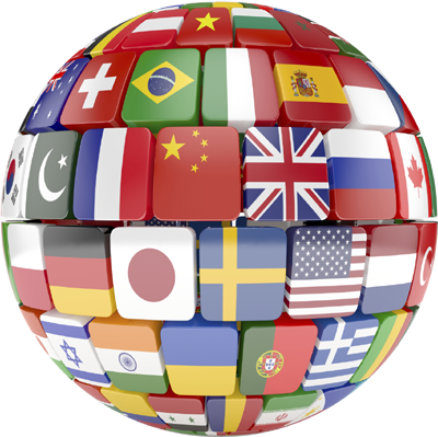 World gobe with country flags