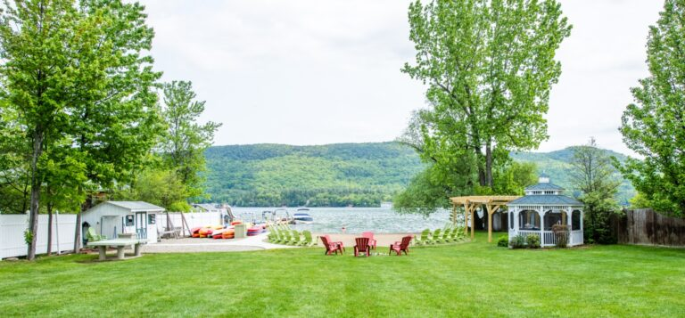 View of lake george and grass