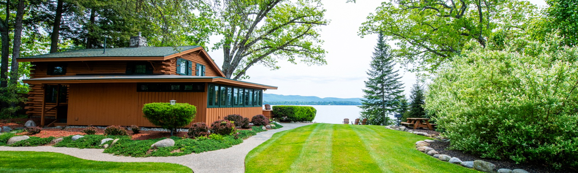 View of lake george with home