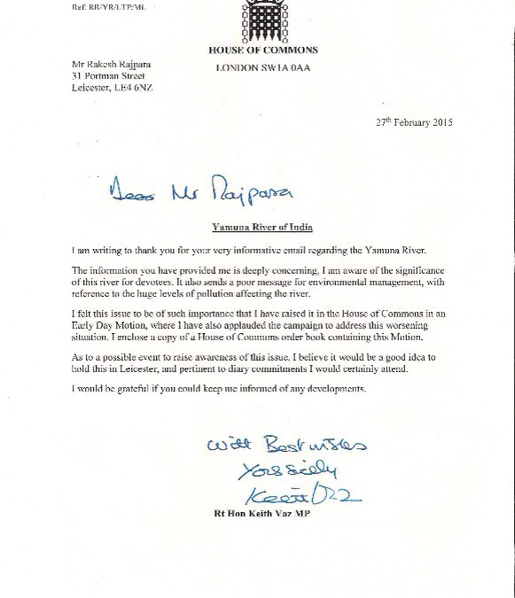 Yamuna Issue Raised in UK Parliament