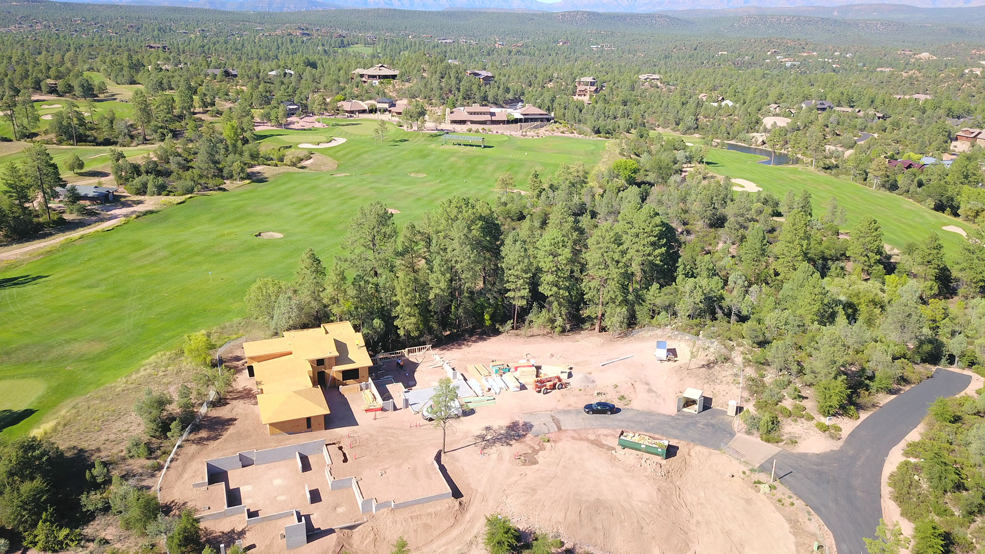 an aerial view of a golf course