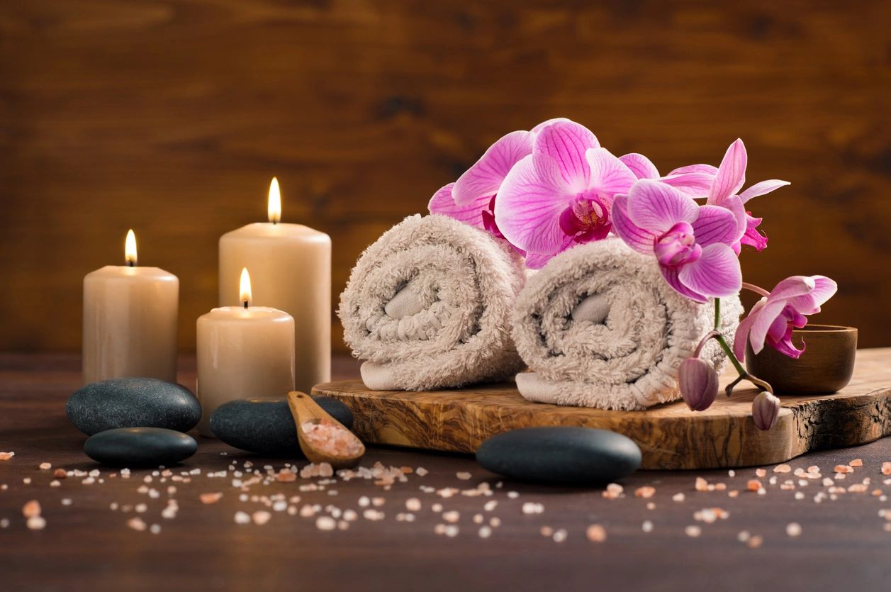 towels and candles for relaxation