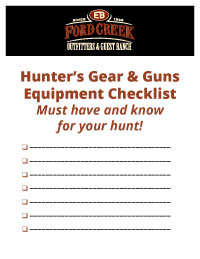 Download Ford Creek Outfitters Hunter's Gear & Guns Equipment Checklist