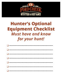Ford Creek Outfitters Optional Equipment Checklist