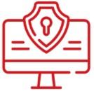 Logo représentant la protection informatique en rouge