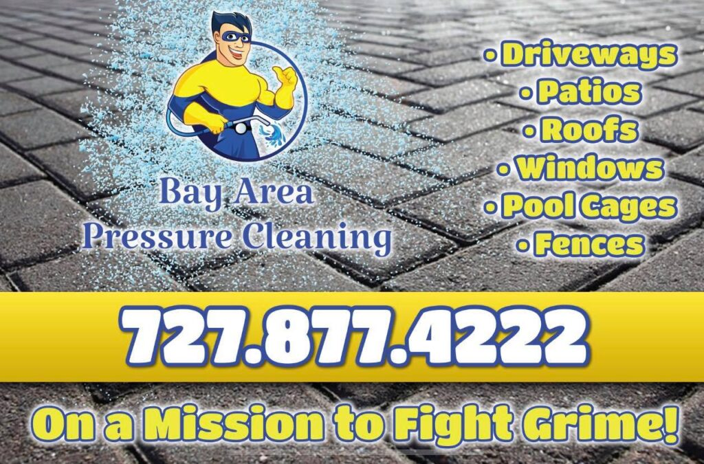 Call Bay Area Pressure Cleaning for pressure washing services including driveway cleaning, paver sealing, roof cleaning, windows and home cleaning, and fence and yard cleaning