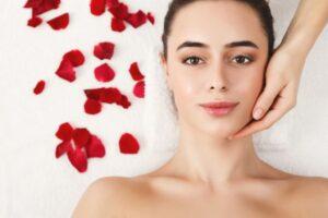 A woman having facial.